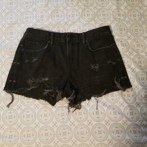 ALL SAINTS Distressed Black Denim Shorts